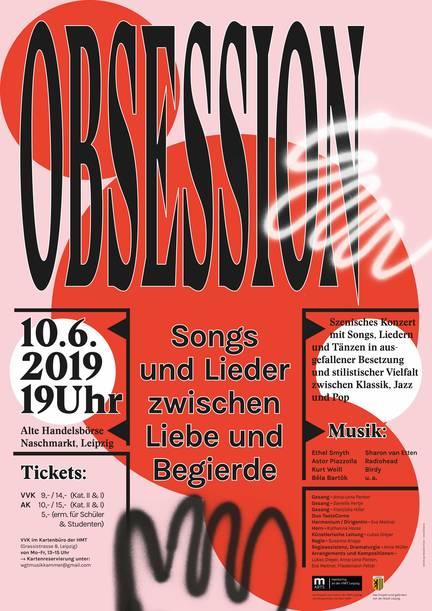 Plakat OBSESSION Konzert Premiere 10.6.2019 Alte Börse Leipzig