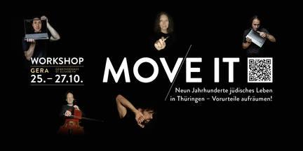 Flyer #Move_it Gera vorn mit QR Code